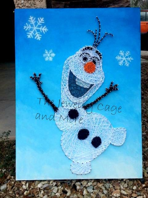 24 X 18 inches Olaf the snowman from Frozen - String Art by ThejewelryCage