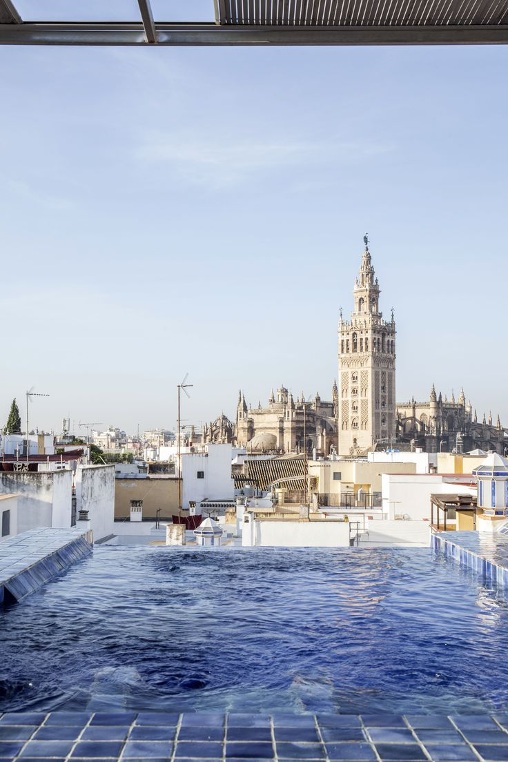 Seville - the view from the pool on the rooftop of Aire de Sevilla (a traditional bathouse)