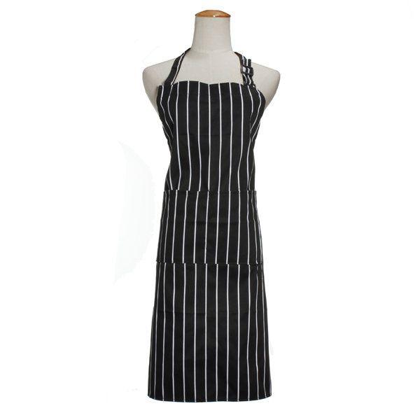 Adult Adjustable Black White Stripe Kitchen Apron Chef Uniforms with 2 Pockets - US$5.71 - Banggood Mobile