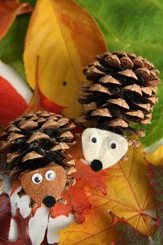 kids fall DIY: pinecone owl & hedgehog