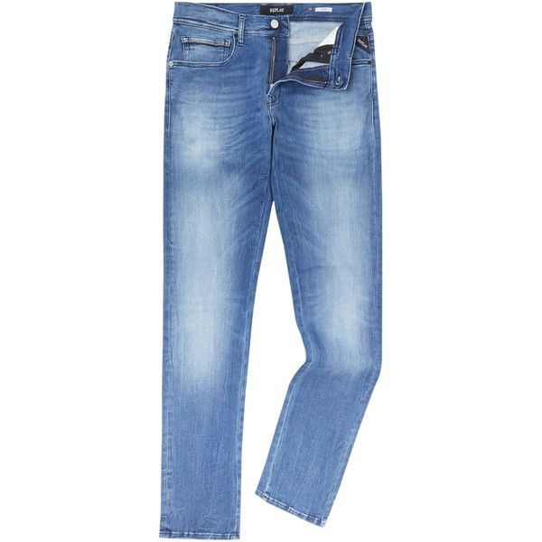 Replay Grover Mid Wash Denim Jeans ($190) ❤ liked on Polyvore featuring men's fashion, men's clothing, men's jeans, men jeans, replay mens jeans, mens button fly jeans, mens straight leg jeans, mens straight jeans and mens jeans