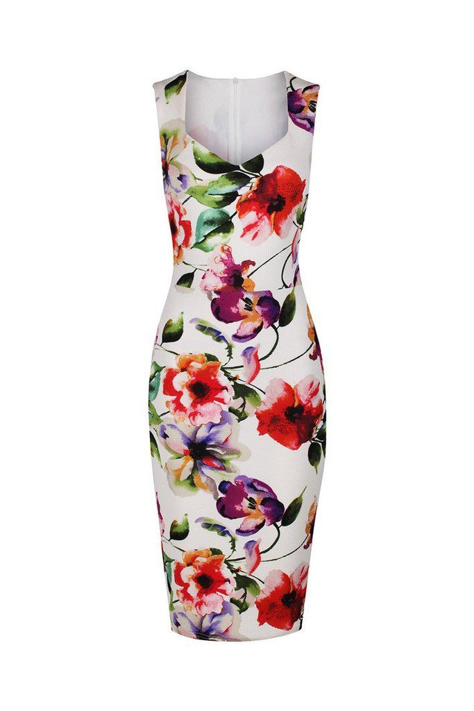 Ivory White and Multi Colour Floral Print Bodycon Pencil Dress