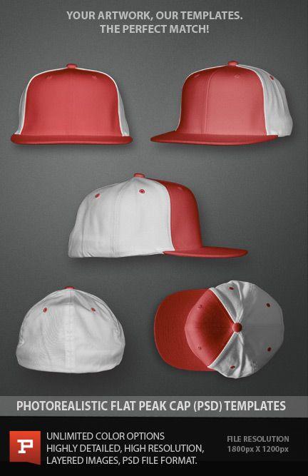 Photorealistic flat peak Flexfit cap template.