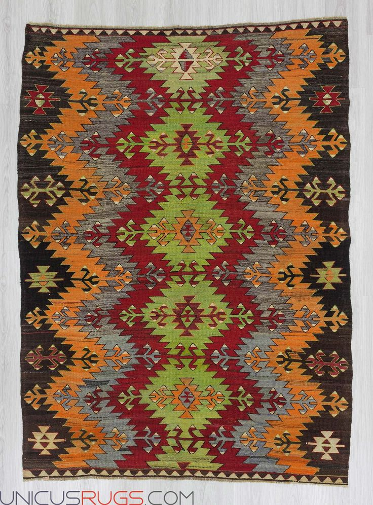 "Vintage colorful kilim rug from Afyon region of Turkey.In good condition.Approximately 50-60 years old Width: 5' 0"" - Length: 6' 11""  Colorful Kilims"