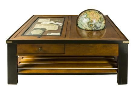 "MF123 Globe Table 43.5"" with Glass Wood MDF & Brass Material in Black Honey Distressed French Finish"