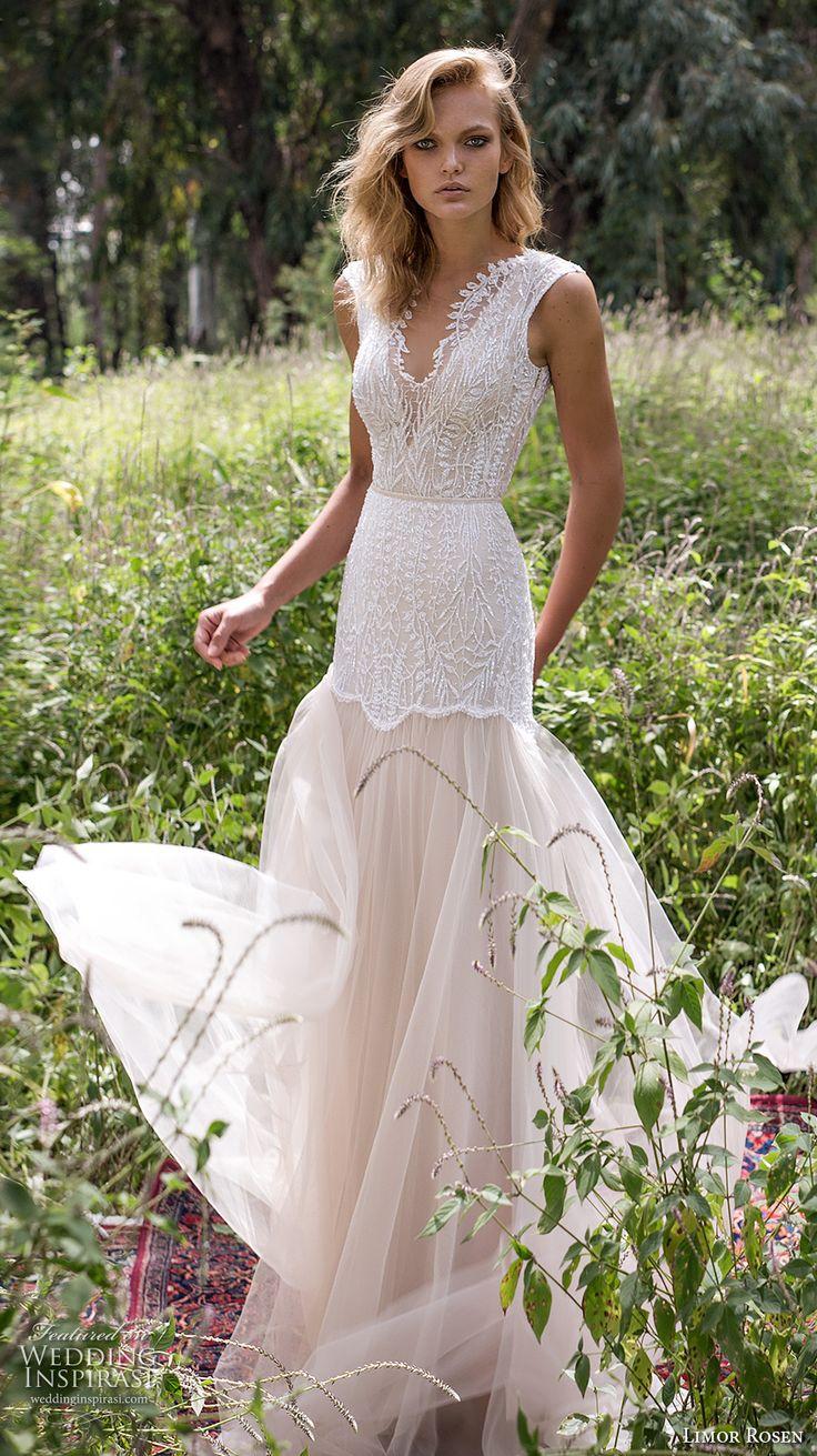 limor rosen 2017 bridal sleeveless v neck heavily embellished bodice romantic drop waist tulle skirt a line wedding dress low back sweep ttrain (eve) mv