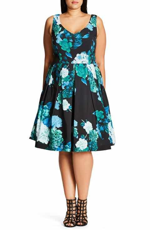 City Chic Fresh Hydrangea Print Fit & Flare Dress (Plus Size)
