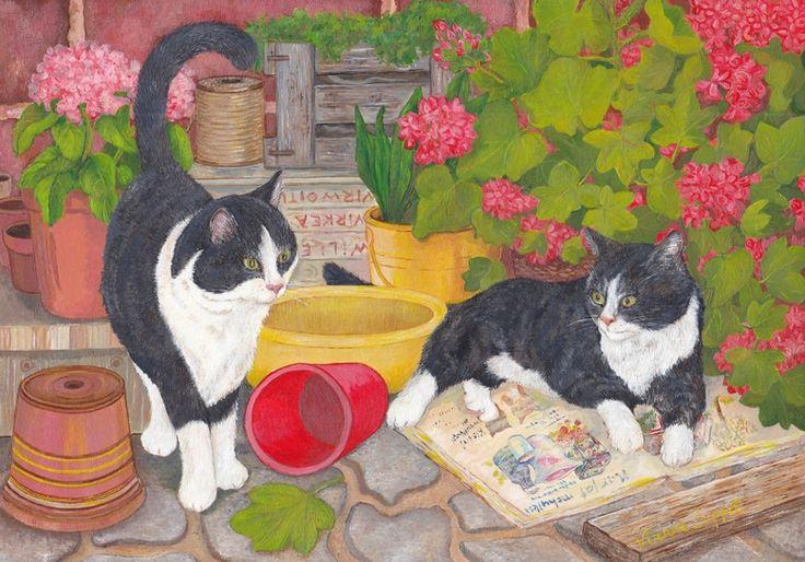 Hoksotin | A free digital jigsaw puzzle of two cats relaxing next to flowers / Ilmainen digitaalinen palapeli kissoista, jotka lepäilevät kukkien vieressä.