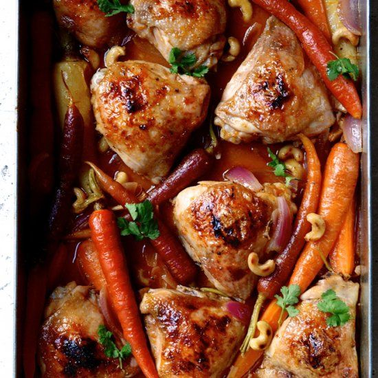It doesn't get easier than this cheat sheet supper - Sticky Chinese mandarin chicken tray bake.