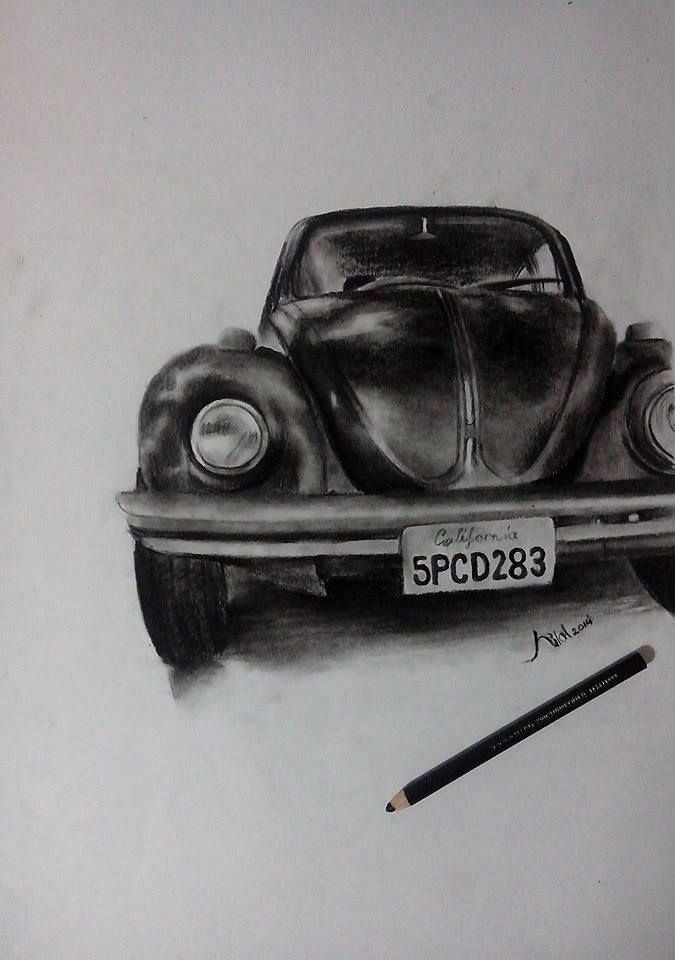 Wolksvagen Charcoal Pencil Drawing Kunst Sanat von Hilal Soyçiçek   – drawing art