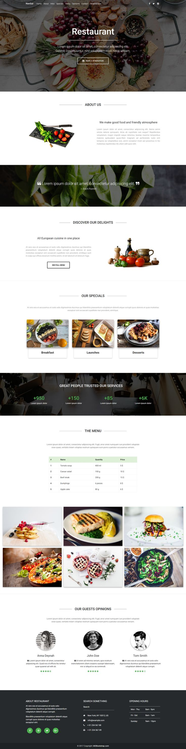 A presentation of fully responsive Restaurant Landing Page Template, created with Material Design for Bootstrap