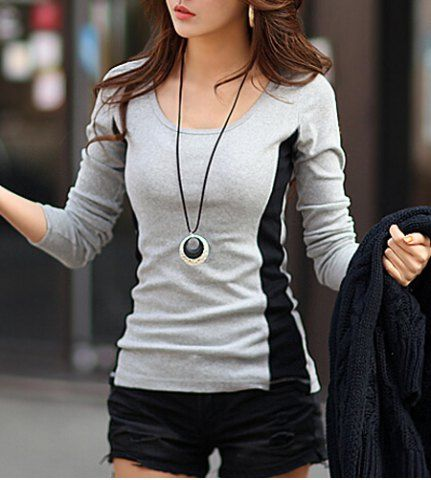 Casual Style Candy Color Openwork Design Long Sleeve Cotton Women's T-ShirtT-Shirts | RoseGal.com
