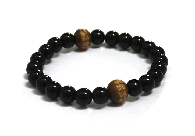 Men's Inspirational Jewelry, Obsidians with Mantra Wood Beads!  #bracelet #jewelry #gemstone #men #obsidian #mensfashion #meditation #mindfulness #giftforhim#yoga #fathersday #jewelryformen