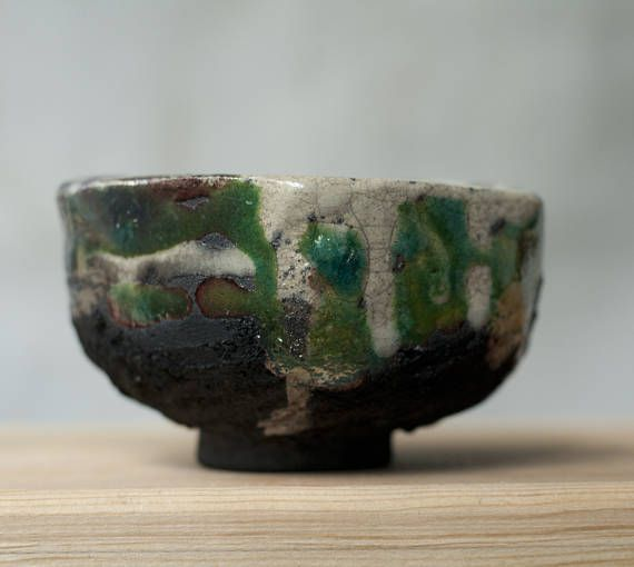 Ceramic chawan, tea cup, handmade, raku, unique, green, white, black, Japanese tea ceremony, matcha chawan