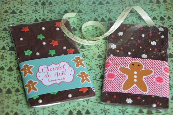 Recette de tablettes de chocolat customisé parfaite pour des idées de cadeaux gourmands. Je vous propose également des étiquettes en téléchargement gratuit.
