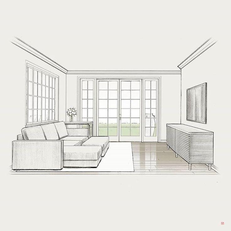 Living Room Sketch In 2020 Interior Design Sketches Furniture Design Sketches Interior Design Drawings