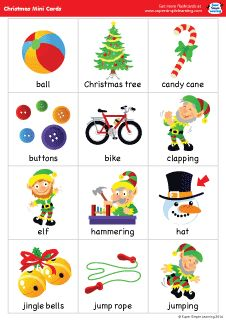"Set of 38 mini flashcards to go with the ""Super Simple Songs - Christmas"" CD. Great for classroom or at-home games. #preK #Kindergarten #ESL"