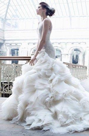 Bridal Gowns: Lazaro Mermaid Wedding Dress with V-Neck Neckline and Dropped Waist Waistline