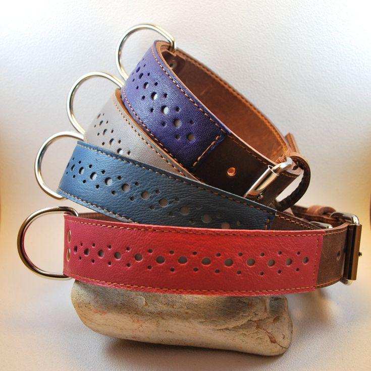 Collier pour chien en cuir marron doublé avec couture et bande décorative en cuir de couleur sur bande réfléchissante largeur 3 cm de la boutique ROUXIE sur Etsy