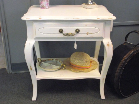 For Angela Shabby Chic White Ethan Allen French Country Vintage End Table Night Stand With