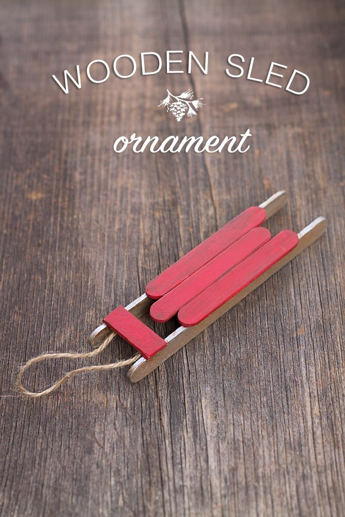 27+ DIY Christmas Ornaments Kids Can Craft- DIY Popsicle Stick Sled Ornament from Fireflies and Mudpies