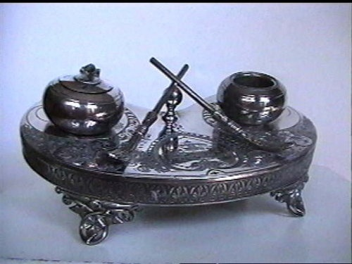 Antique 1902 ENGLISH SILVER Doctor's INKWELL: Scottish CURLING BROOM & STONE