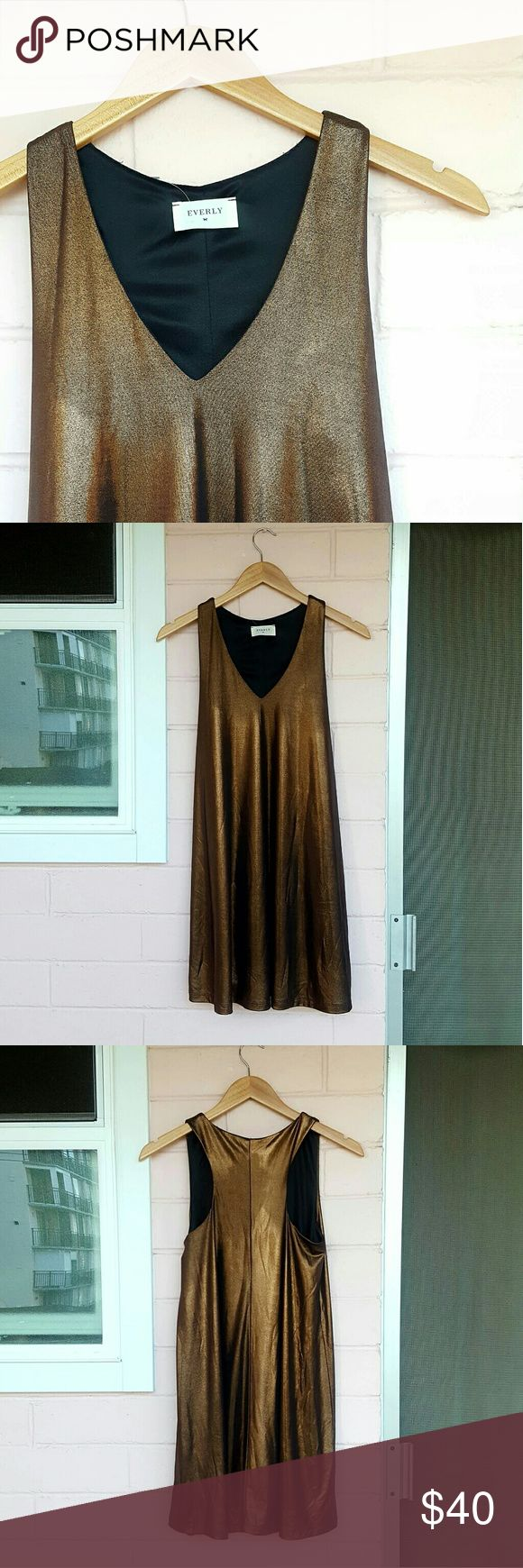S EVERLY BRONZE DRESS *bronze (tag says rose gold) swing dress *size small *brand new with tags *beautiful dress for any occasion *comes from a smoke-FREE & pet-FREE home Everly Dresses