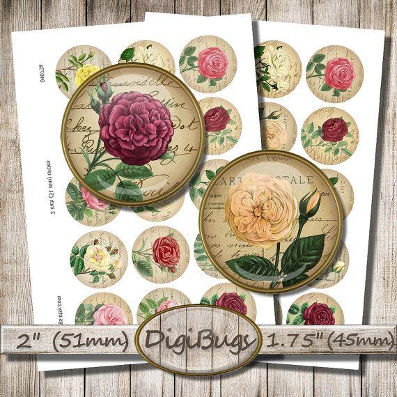 Vintage Roses on Old Letters, Digital Collage Sheet, Floral Circles, Rose Pendant Images, Rose Mirror Images, Digital Printable Roses, a4