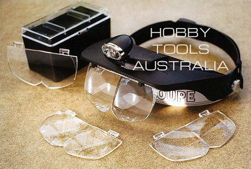 Hobby Tools Australia - Deluxe Head mounted magnifier with 2 LED lights, $29.93 (http://www.hobbytools.com.au/deluxe-head-mounted-magnifier-with-2-led-lights/)