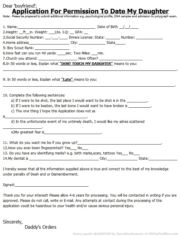 Application to marry my daughter
