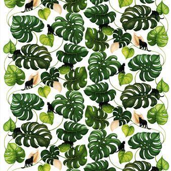 Catwalk tyg från svenska Arvidssons Textil är designat av formgivaren Mialotta Arvidsson Mars. Bomullstyget har ett handritat grönskande mönster med exotisk touch, föreställandes monsterablad och svarta små pantrar. Tyget gör sig utmärkt som gardin men kan även användas till att sy dekorativa kuddfodral!