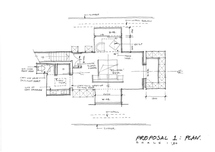 sketch plan for a new room in a roof bedroom suite