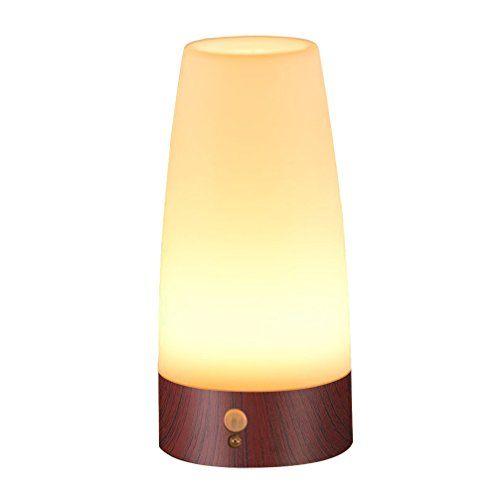 From 10 49 Signstek Wireless Pir Motion Sensor Led Night Light Battery Powered Table Lamp Round Wood Grain Base Lamp Led Night Light Night Light