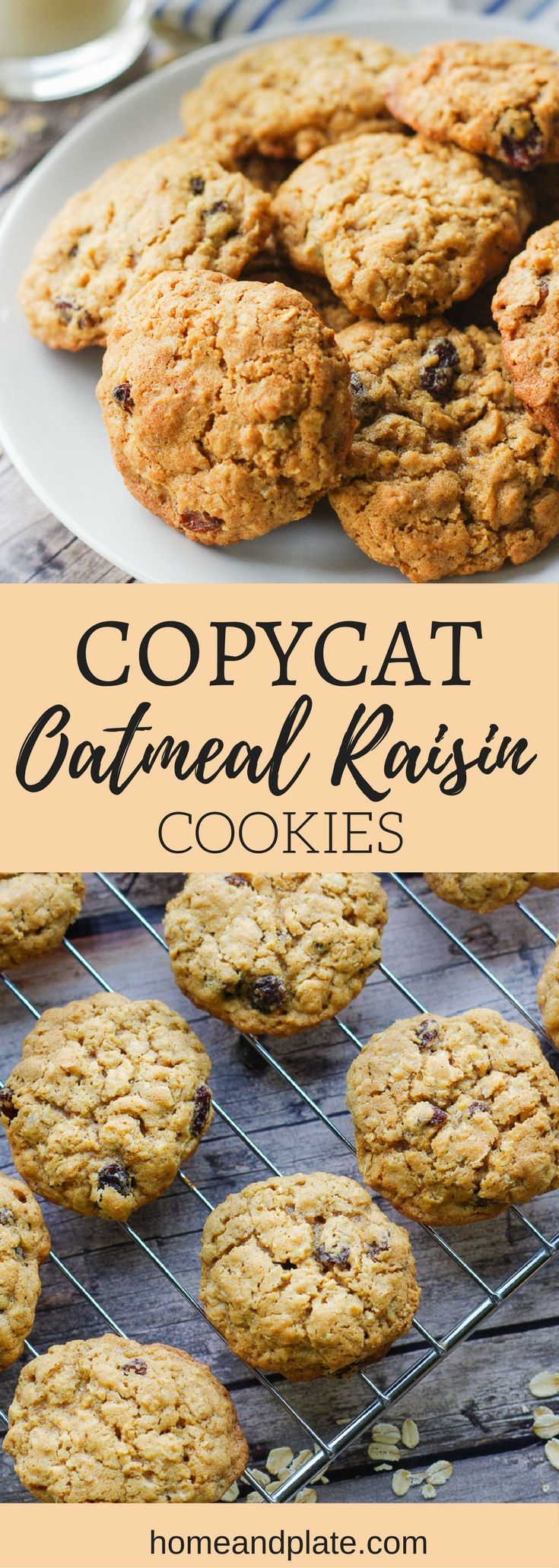 Copycat Oatmeal Raisin Cookies | www.homeandplate.com | Soft and chewy, these old fashioned copycat oatmeal raisin cookies are better than what you get at McDonald's, Panera or Subway. #cookies #oatmealraisincookies #copycatcookies #christmascookies