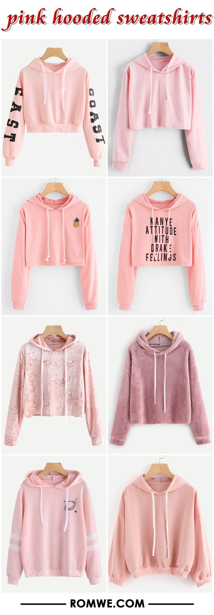 FREE SHIPPING ON ORDERS $59+ - pink hooded sweatshirts from romwe.com