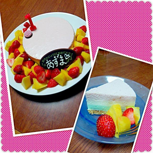 ひし餅色のレアチーズケーキにしてみました(*´ω`*) - 17件のもぐもぐ - 雛祭り&バースデーケーキ♡ by kana0108