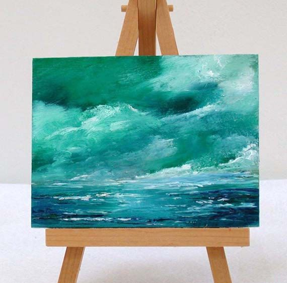 Ocean green and blue, 3x4 original oils by valdasfineart on Etsy