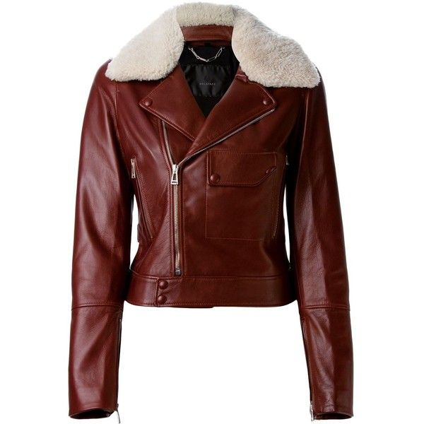 Belstaff Shearling Lapel Biker Jacket ($1,980) ❤ liked on Polyvore featuring outerwear, jackets, red, red moto jacket, shearling jacket, belstaff, red jacket et belstaff jacket