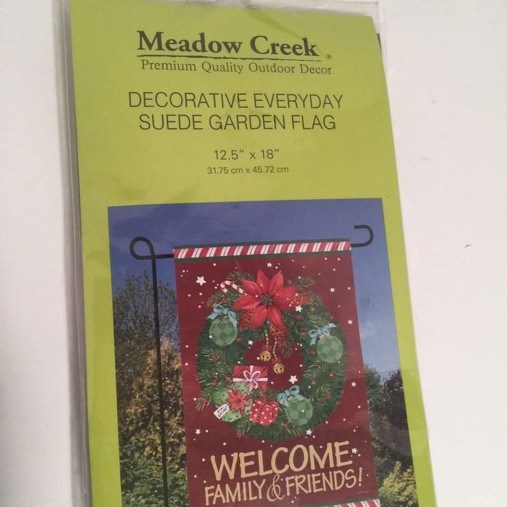 Christmas Outdoor Flag Welcome Family & Friends 12 X 18 Inches Red Suede  | eBay