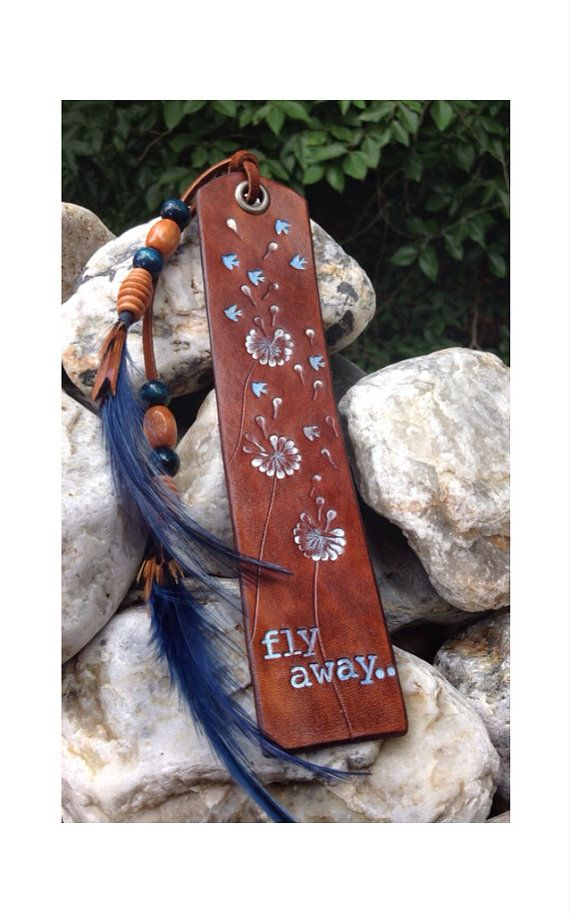 insp==Gorgeous Leather Bookmark  Dandelions 'fly away  by GratifyDesign, $23.00