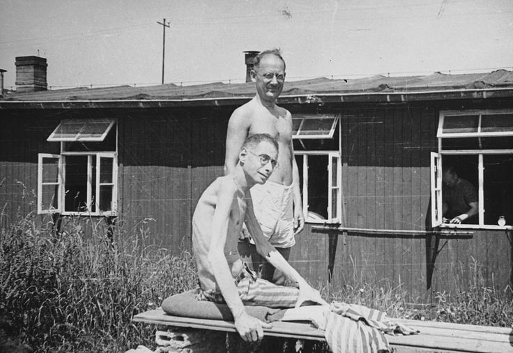 Two prisoners at Buchenwald concentration camp: Both of these men weigh 80 pounds. At one time they were normal human beings. Both are Poles