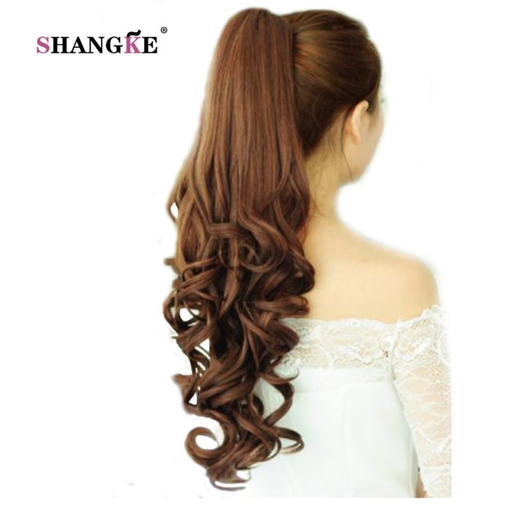 SHANGKE 22'' Long Curly Ponytail Hair Pieces Clip In Fake Hair Extensions Long Curly Hair Tails Clip Flip Ponytail Hairstyles