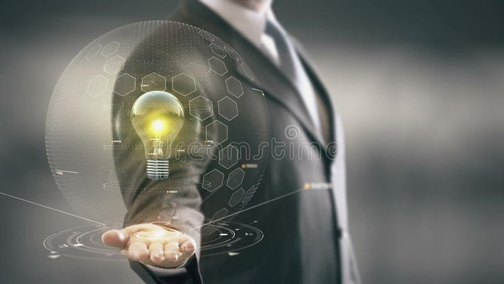 Bulb Yellow with hologram businessman concept. Business, Technology Internet and , #sponsored, #hologram, #businessman, #Bulb, #Yellow