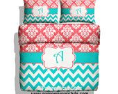 Chevron and Damask Bedding - Coral and Aqua bedding -  Mongrammed, Personalized Duvet or Comforter - Pick Your Color and Size - pinned by pin4etsy.com