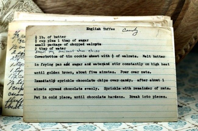 A classic vintage recipe from the files - English Toffee Candy