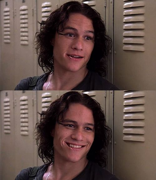 Heath Ledger in 10 Things I Hate About You, oh, that smile! I fall for him every time I watch this movie!