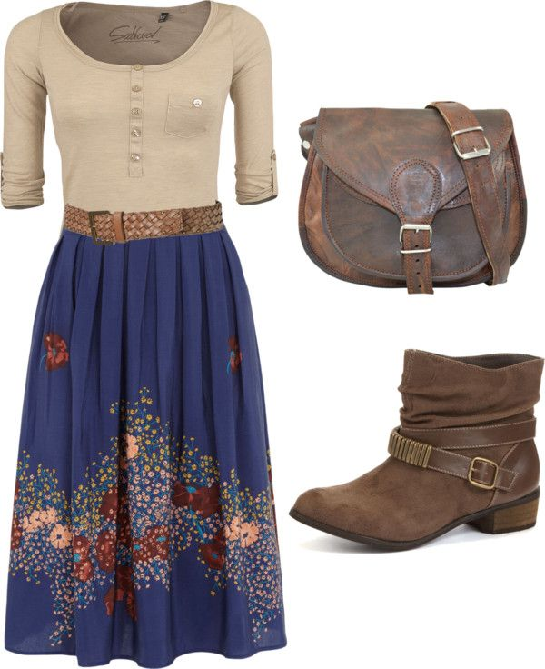 """Country days."" by kristina-norrad ❤ liked on Polyvore tan blue floral skirt"