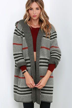 Remain Wild Grey Striped Sweater Jacket