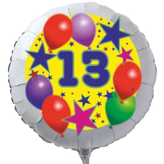 Luftballon Zum 13 Geburtstag Sterne Und Luftballons Rundballon