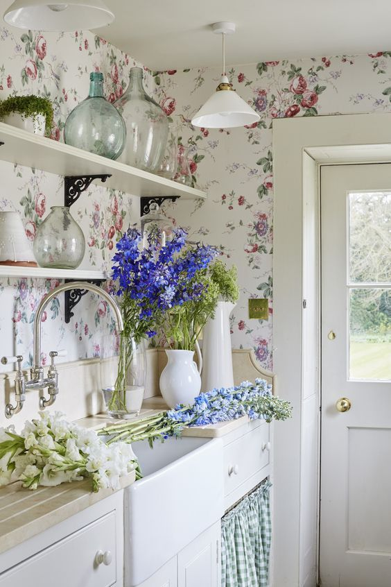 Shabby Chic Kitchen With Floral Wall
